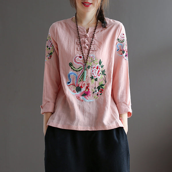 Vintage Frog Embroidery Cotton Linen Shirt