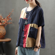 Vintage Frog Women Summer Linen Blouse