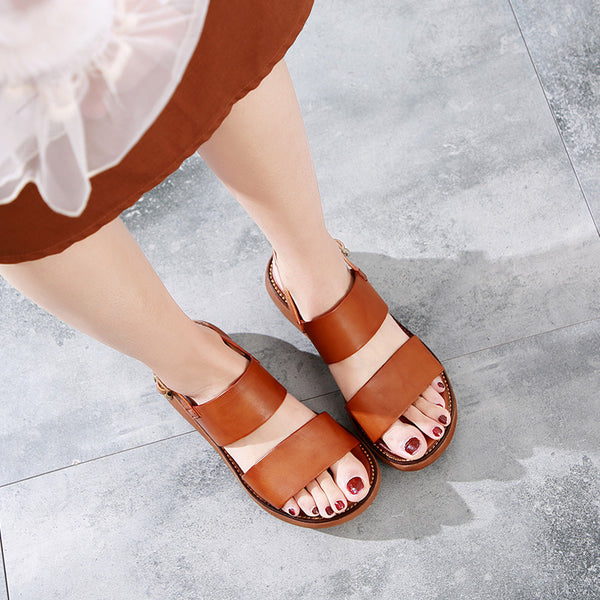 Vintage Hand Made Round Toe Women Sandals