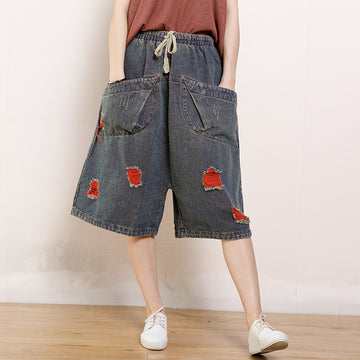 Vintage Hole Pockets Calf-Length Jeans