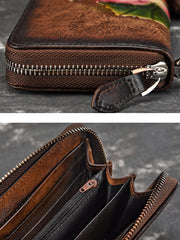 Vintage Leather Hand-Made Zipper Clutch Handbag