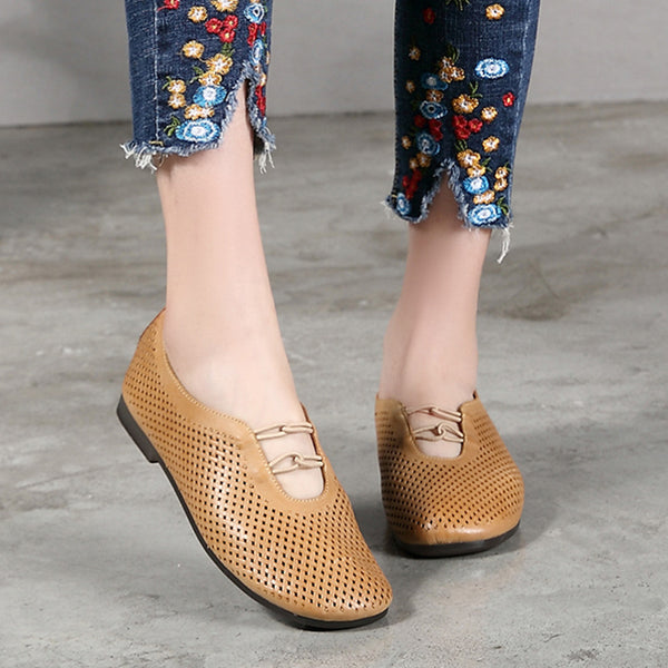 Vintage Leather Hollow Out Flat Shoes