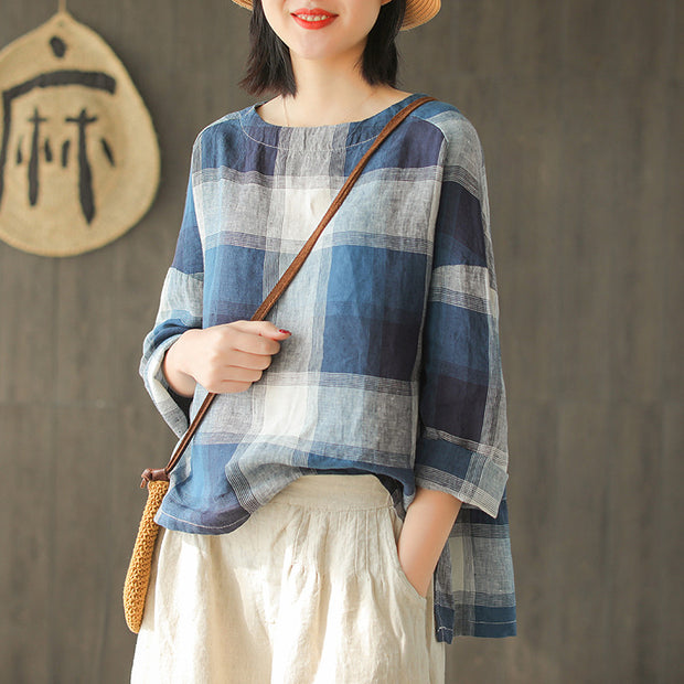 Vintage Linen Irregular O-neck T-shirt