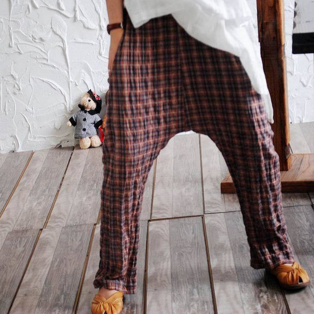Vintage Linen Plaid Elastic Waist Cross-pants