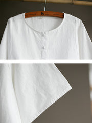 Vintage Linen Round Neck Women White Blouse