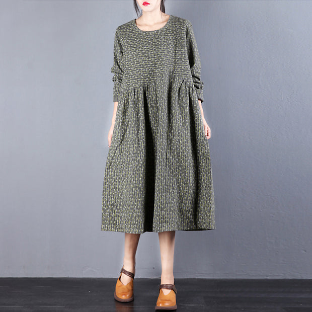 Vintage Long Sleeve Cotton Floral Dress