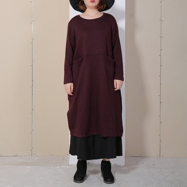 Vintage Long Sleeve Solid Women Dress