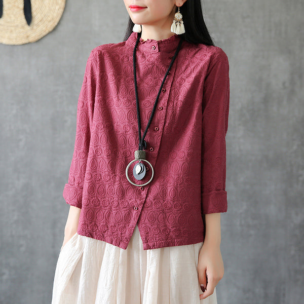 Vintage Long Sleeve Stand Collar Embroidery Blouse