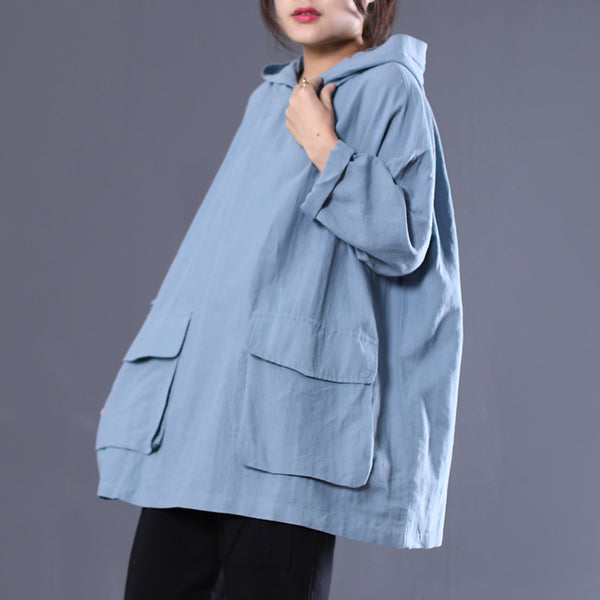 Vintage Loose Hooded Cotton Linen Shirt