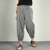 Vintage Plaid Linen Cotton Ankle Length Pants