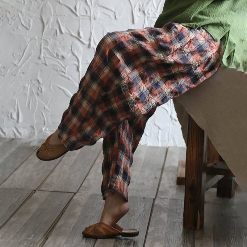 Vintage Plaid Loose Linen Wide Leg Pants