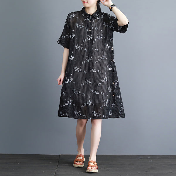 Vintage Print Half Sleeve Button Dress