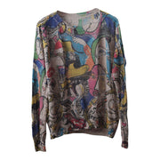 Vintage Print Hollow Out Long Sleeve T-shirt