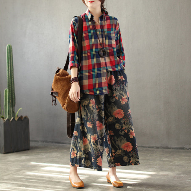 Vintage Print Jeans Flower Denim Wide Leg Pants