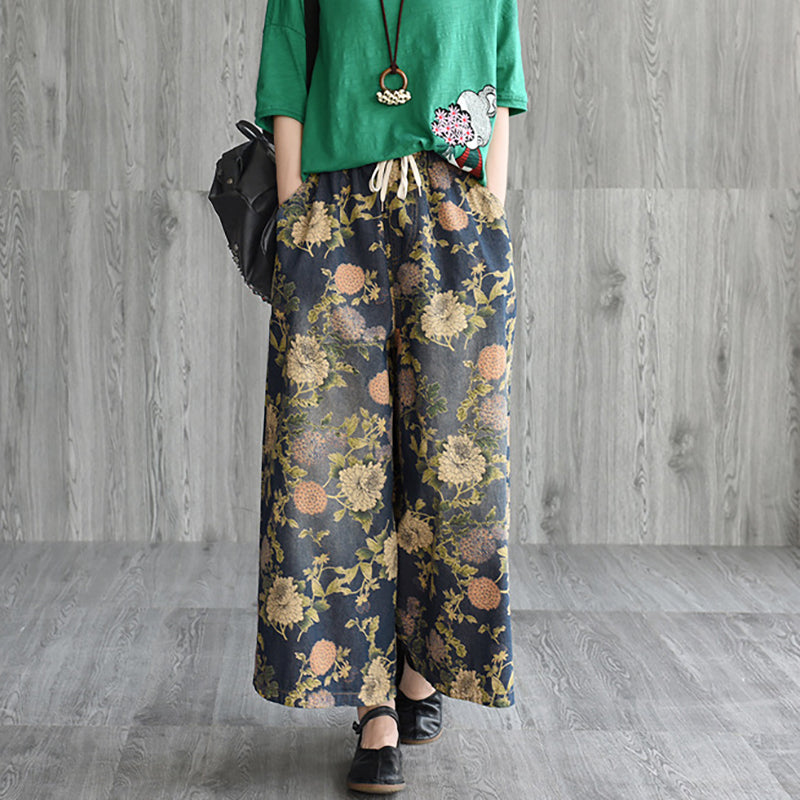 Vintage Print Loose Denim Wide Leg Pants