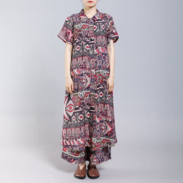Vintage Printed Split Casual Two Piece Suit