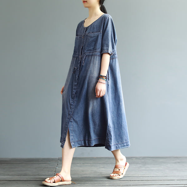 Vintage Pure Color Short Sleeve Denim Dress