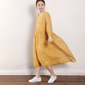 Vintage Round Neck Hollow Out Women Dress