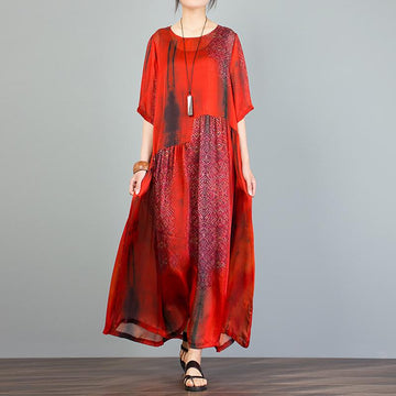 Plus Size Short Sleeve O Neck Summer Loose Dress With Lining