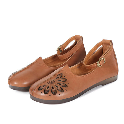 Vintage Round Toe Leather Women Shoes