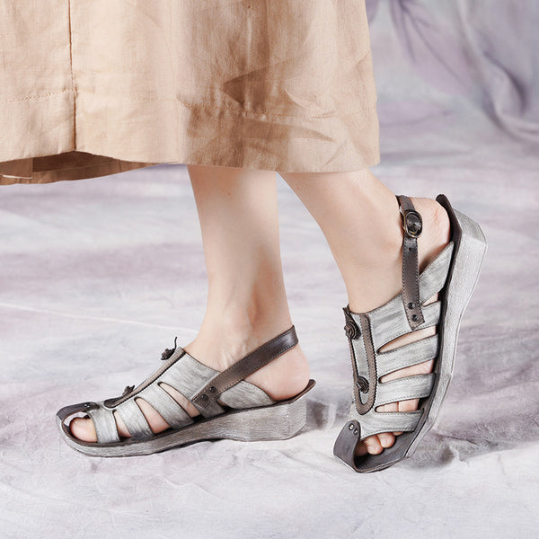 Vintage Soft Leather Buckle Strap Sandals