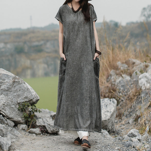 Vintage Solid Color Casual Cotton Dress