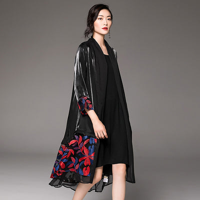 Vintage Spliced Loose Embroidery Women Coat