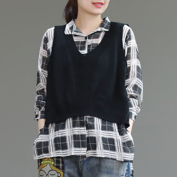 Vintage Spliced Plaid  Knitted Women Shirt
