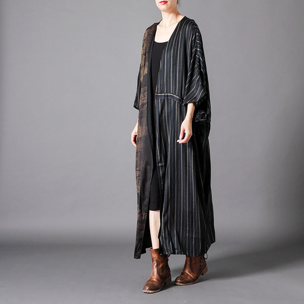 Vintage Spliced Stripe Lacing Trench Coat