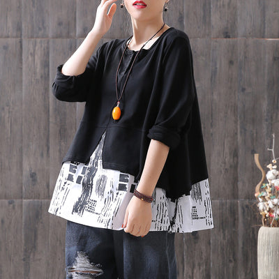 Vintage Splicing Fake Two Piece T-Shirt