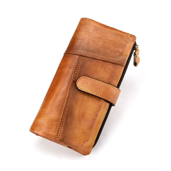 Vintage Splicing Leather Long Clutch Wallet