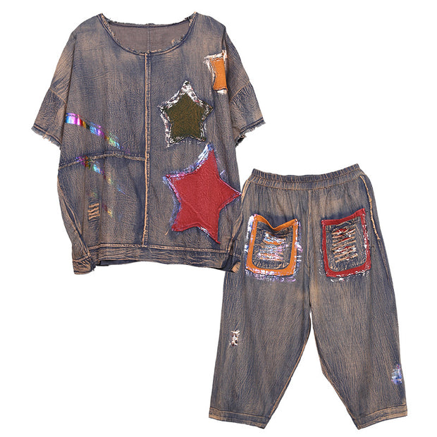 Vintage Star Patchwork Denim Two Piece Suit