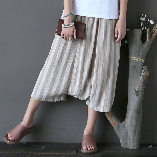 Vintage Striped Cotton Linen Cross Pants