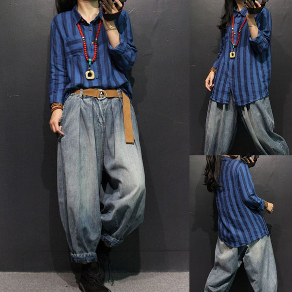 Vintage Striped Linen Loose Shirt