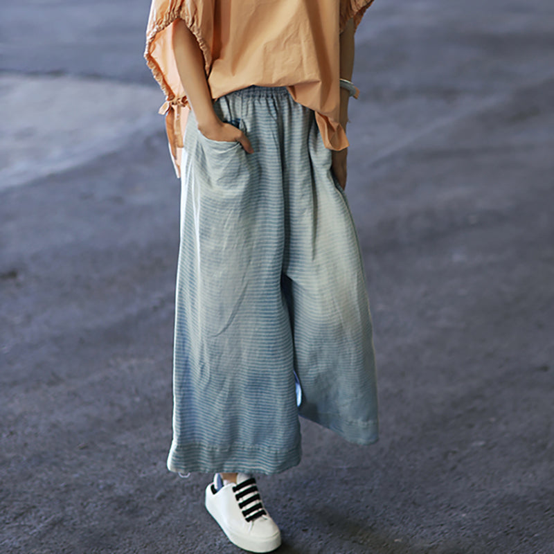 Plus Size -Vintage Washed Bleached Wide Leg Jeans