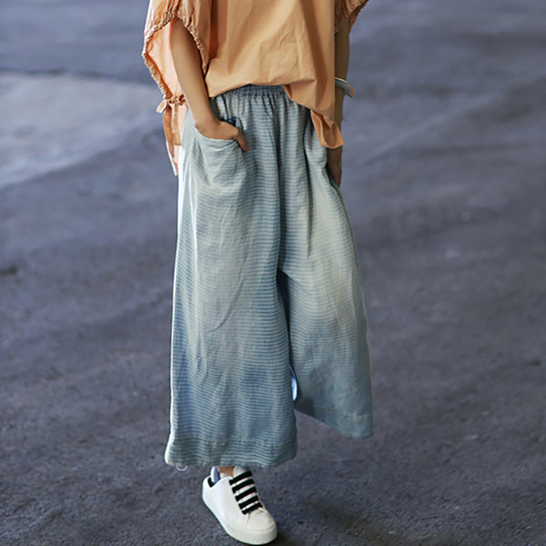 Vintage Washed Bleached Wide Leg Jeans