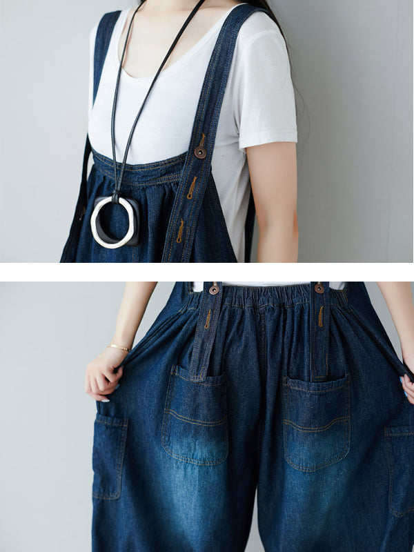 Vintage Washed Hole Denim Bleached Overalls