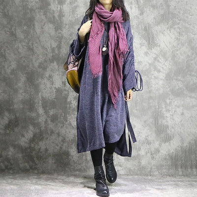 Vintage Women Irregular Loose Cotton Dress