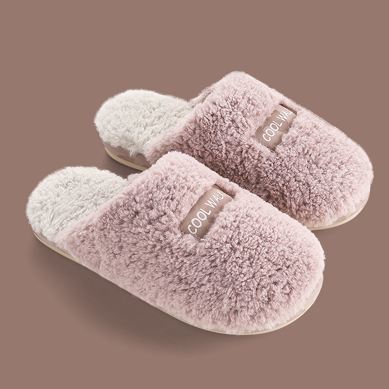 Warm Plush Letter Patchwork Slippers