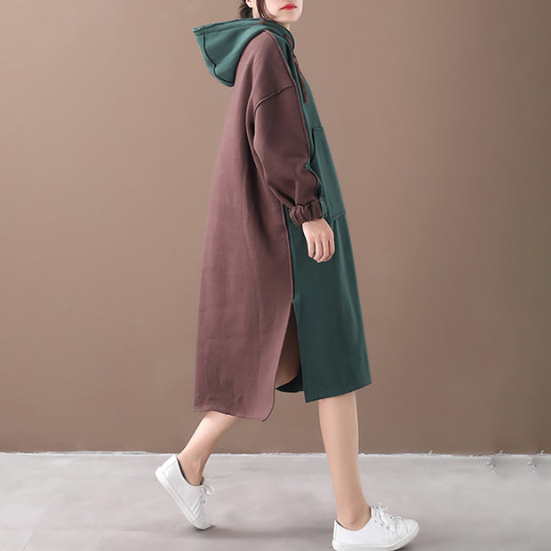 Warm Fabric Stitching Casual Hooded Dress