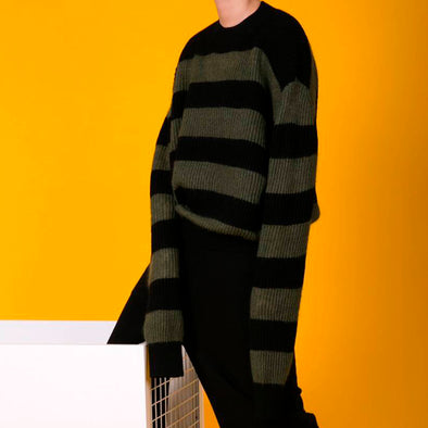 Warm Stripe Loose Autumn Winter Women Sweater