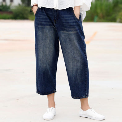 Washed Denim Blue Casual Female Jeans