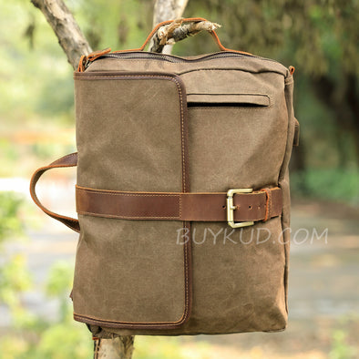 Wax Canvas Leather Large Casual Backpack