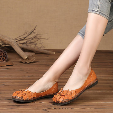 Weave Design Leather Block Stitching Retro Loafers