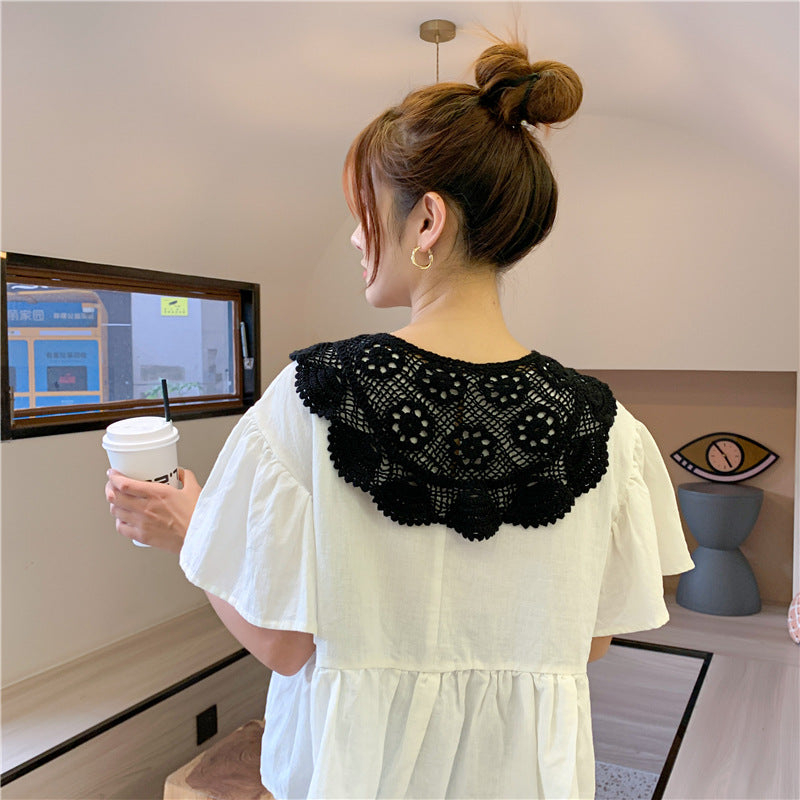 Weave Hollow Lace Shawl Neck Collar