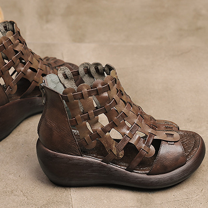 Weaving Hollowed Out Wedge Women's Sandals