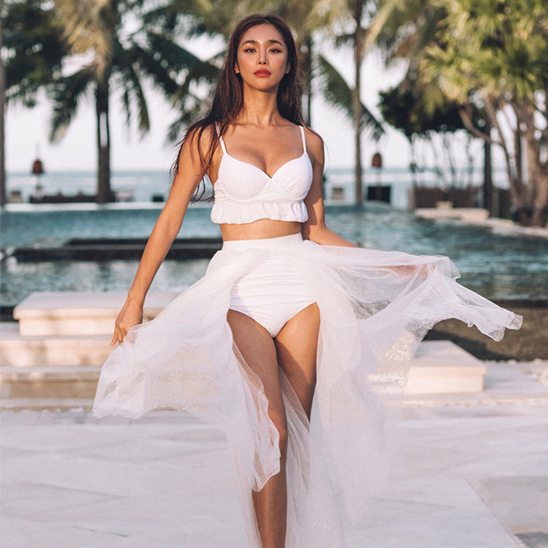 Wedding Pure Color Three Piece Swimsuit (Bra + Bottoms + Skirt)