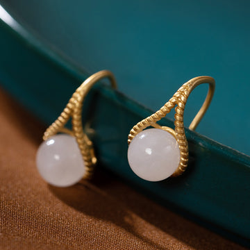 White Jade Gold Plated Silver Ear Studs