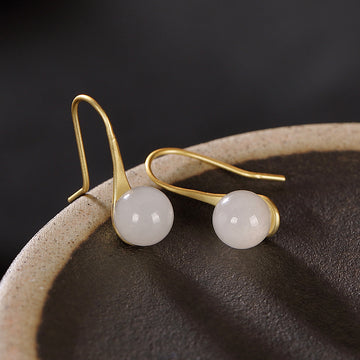 White Jade Gold Plated Silver Earrings