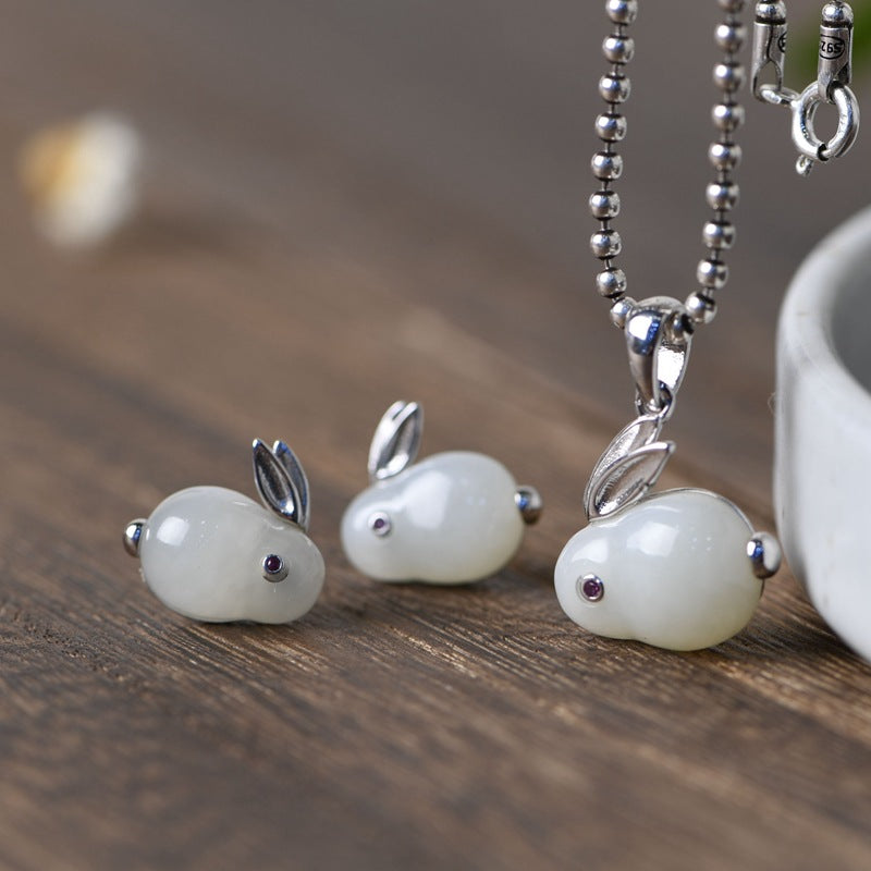 White Jade Rabbit Silver Ear Studs Pendant